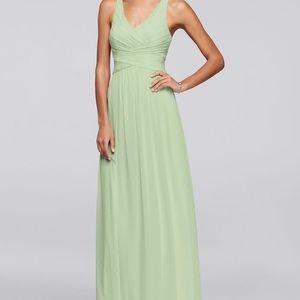 Green floor length bridesmaid dress
